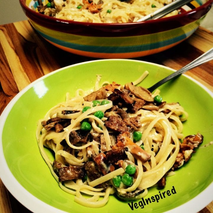 Fettuccine with Peas, Tempeh Bacon, and Mushrooms tossed in a Cashew Butter Sauce